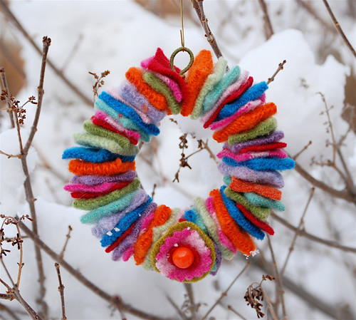 Wreath made from old sweaters!
