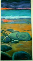 Bretagne au coucher du soleil (superpralinix) Tags: sunset sea mer marina landscape brittany tramonto bretagne côte breizh peinture plage oiloncanvas bretagna pittura
