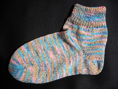 Machine-knit (flatbed) sock