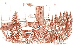 Tuscany bourg (superpralinix) Tags: winter snow mail hiver dessin card tuscany neve neige draw inverno disegno