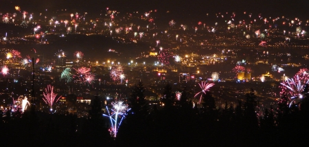 Fireworks in Oslo, Norway, on 1st Jan 2008