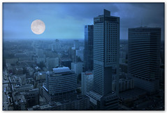 Blue Moon (Silvia de Luque) Tags: city blue moon streets azul buildings edificios bravo poland ciudad luna warsaw soe polonia warszawa calles fotomontaje varsovia themoulinrouge magicdonkey alhambra2006 silviadeluque artlibre platinumphoto aplusphoto goldenphotographer diamondclassphotographer bratanesque