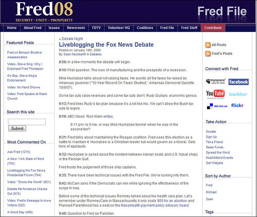 Fred Thompson's Blog - Live Blogging the Debate