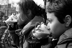 Amsterdam (March 07) (PlasticVenus) Tags: blackandwhite bw netherlands amsterdam sisters latte rembrandtsquare