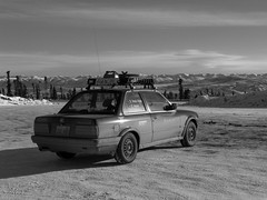 Looking Forward (TeamD Rally) Tags: winter bw rally bmw dempster alcan eagleplains 325ix teamd