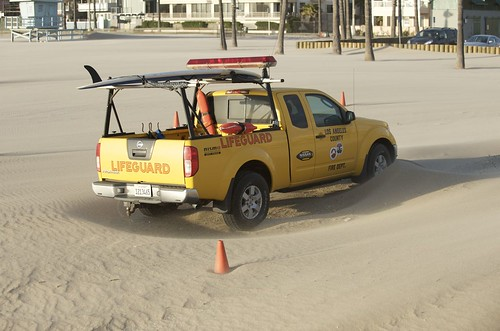 Lifeguard truck in the wind