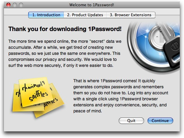1Password Welcome Assistant (Page 1)