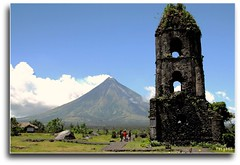 Cagsawa, Albay: Mayon Volcano and The Ruins (Mr. FRANTaStiK) Tags: mountain tower history nature landscape volcano philippines belltower mayon bicol campanario cagsawa albay supershot mountmayon diamondclassphotographer teampilipinas theunforgettablepictures fongetz francistan