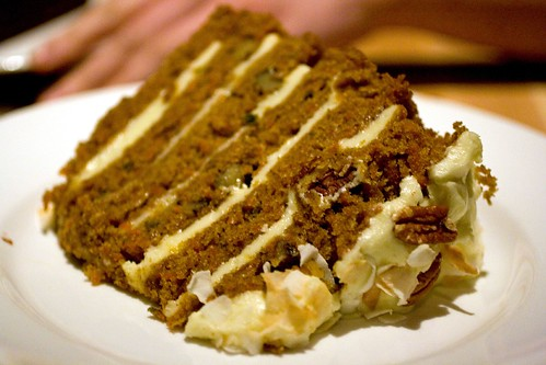 A slab of carrot cake