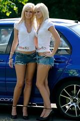 Twice As Nice - Chatsworth Rally Show (TallGuyTosh.) Tags: vortex twins derbyshire blondes models blond blonde chatsworth vodkakick denimshorts promogirls terrygrant rallyshow2008 raceflo
