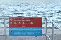 2017 Sydney: Botany Bay #11 (dominotic) Tags: sydney nsw australia newsouthwales 2017 botanybay water beach brightonlesands warningsign sydneyairport ladyrobinsonsbeach
