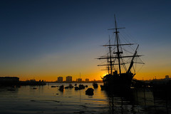 Sunset, Portsmouth (RestlessFiona) Tags: 18thfebruary2017 hmswarrior ship boat sailingship historic dockyard sunset portsmouth sea explore restlessfiona