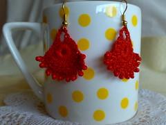 Bright Red Dainty Tear Drops Bead Crochet Chandelier Earrings (Mamta Motiyani) Tags: red india women bright handmade crochet earring jewelry chandelier earrings crocheted dangle beaded madeinindia etsyteamindia