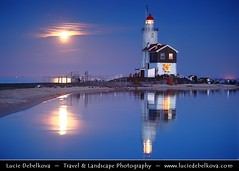 Netherlands - Super Moon rise over the Marken Lighth