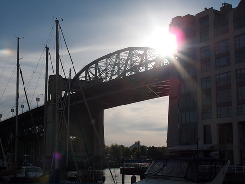 Burrard Bridge and Setting Sun