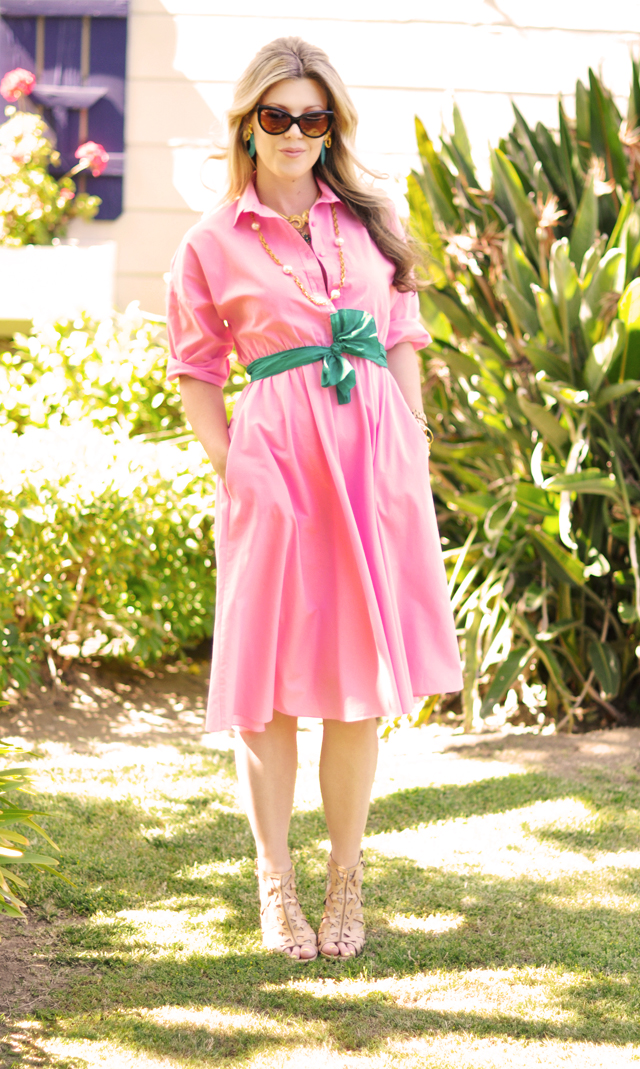 watermelon pink  vintage  shirt dress with scarf belt