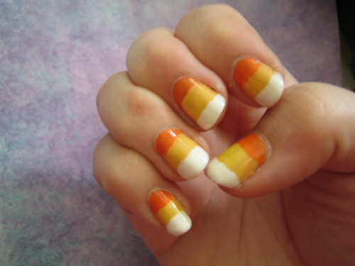 Candy corn yellow nail art design