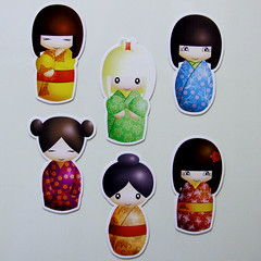 Kokeshi Magnets (365, Day 6) (Eskimimi) Tags: uk japan wooden fridge doll handmade magnets refridgerator etsy kokeshi magnet apanese