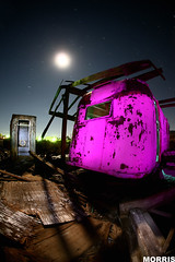 out house (It was the light, it was the angle) Tags: longexposure pink moon night digital canon stars bathroom eos fullmoon fisheye flashlight 5d trailer morris dslr outhouse gel 15mm saltonsea gelled ineeddadrink