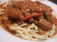 Pork goulash on Spätzle
