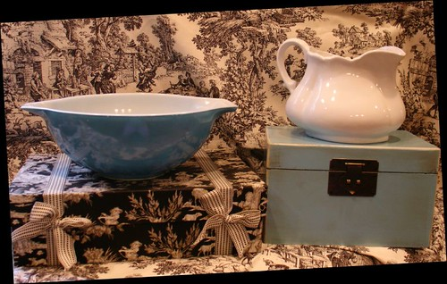 Blue Pyrex & White Pitcher