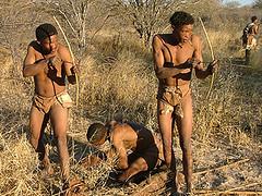Un grupo de cazadores bosquimanos