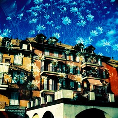Buildings with Daisies (saviorjosh) Tags: tlr xpro kodak doubleexposure seagull swizterland twinlensreflex 4b kodakektachrome64  epr