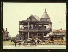 House, Houston, Texas  (LOC) (The Library of Congress) Tags: road door wood old horses horse house man building tower home window fruit architecture wonder wagon this was daylight texas place queenanne painted shingles victorian houston pop advertisement veranda bayou wash laundry cupola porch baskets storefront if libraryofcongress produce pepsi pepsicola cocacola clothesline cart fruitstand residential ever pulling merchant turret washer grocer shopfront houstontexas crates franklinst 1943 wagons womans unmentionables vernaculararchitecture boardinghouse brownhorse johnvachon houstonhouse fruitstands xmlns:dc=httppurlorgdcelements11 gingerbreadtrim valleyfruit dc:identifier=httphdllocgovlocpnpfsac1a35441 valleyfruitstand fishscaleshingles drinkgoldenagebeverages ruralhouston captionable