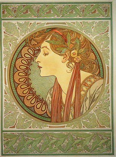 Mucha Round Circle Woman Portrait