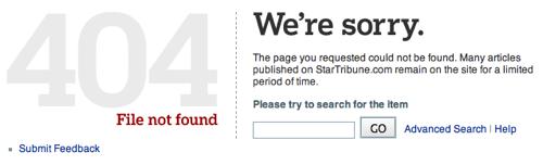 StarTribune.com 404 Error Page