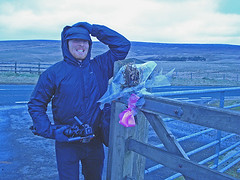 mr woo goes blue (Urbanimp) Tags: windy windfarm turbines moorland windturbines mrwoo powergeneration