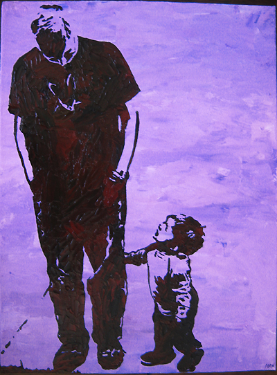 Stencil Portrait - Kerry's son and husband
