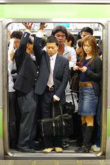 Just about (amirjina) Tags: door man japan 30 danger train tokyo shinjuku suits crowd line explore doorway rush hour commute amir  population  19 vis  yamanote jina salary     salariman     amirjina