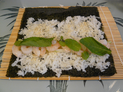Shrimp with Mint & Green Onion Sushi