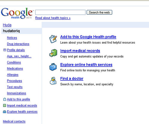 Google Health Screenshot
