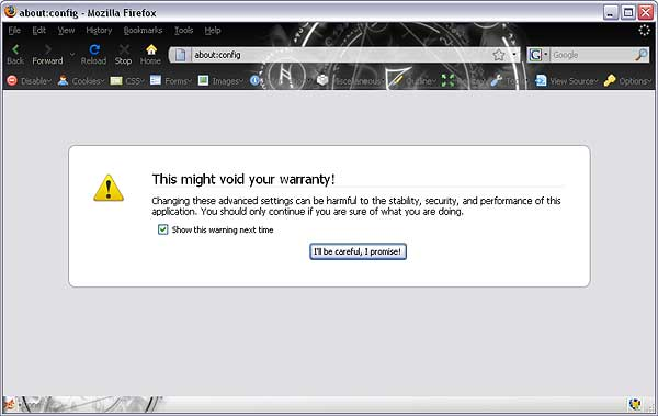 Entering Mozilla Firefox Configuration
