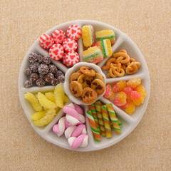 Candy Platter (Shay Aaron) Tags: food cake miniature handmade chocolate aaron fake mini polymerclay fimo marshmallow shay 12th 112 marmalade dollhouse chocolatechips shayaaron