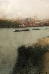 St Pauls from Waterloo bridge (clive sax) Tags: city uk england texture thames river boats paint cathedral grunge stpauls barges waterloobridge memoriesbook