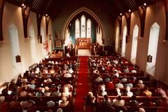 Interior of St. Paul's Church, Hyson Green, Nottingham c1984 (ayeupmeduck) Tags: road nottingham england green church saint st paul interior pauls 1984 service anglican radford cofe hyson