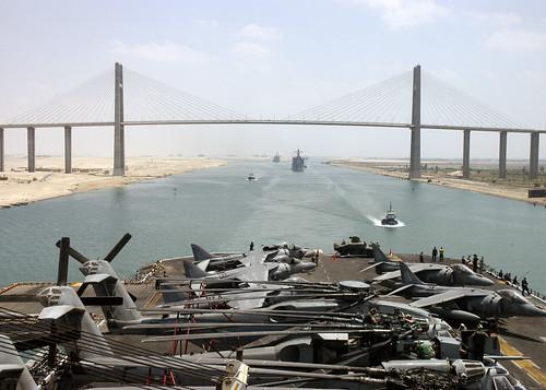 Mubarak Peace Bridge while transiting the Suez Canal