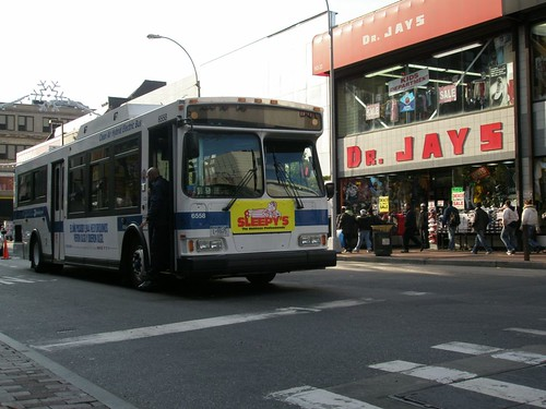 MTA-NYCT bus breaks down in the center of Jamaica Ave./164th Street.