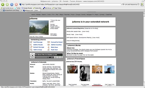Professor's Myspace?  AHHHH!