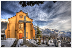 St.Maurice de Laques | Outside 2 (christianmeichtry) Tags: mountain snow alps architecture landscape schweiz switzerland montana europe suisse kirche chruch alpen wallis eglise hdr valais crans sierre stmaurice abigfave colourartaward mollens stmauricedelaques