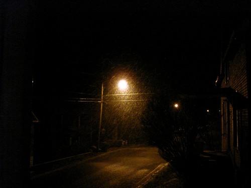 snow around street light