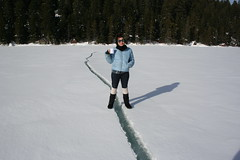 Fault line, with Tea. (Yeny Lee) Tags: snow fun icefishing frozenlake