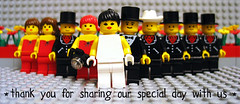 Lego Wedding - thank you card (perez sisters photography) Tags: camera flowers wedding red party color yellow set work cards groom bride thankyou lego photos spiderman savethedate bridesmaids reception tuxedo figurines invitation photographs card tophat weddingparty minifigs groomsmen cowboyhat bridalparty johndeere stationary weddinginvitation legopeople weddingstationary legofigurines