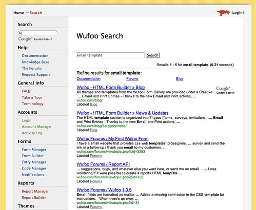 Improved Wufoo Search with Google Custom Search