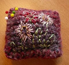 Pincushion (quivis*) Tags: embroidery crochet pincushion haken speldenkussen borduren
