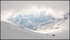 Trebsee 012 (Shepherd & his Hot Dogs) Tags: schnee panorama snow mountains alps dogs fog clouds schweiz switzerland landscapes nebel hiking spuren footprints wolken berge alpine alpen snowshoes hunde engelberg smrgsbord bergwandern gipfel summits schneeschuhe pyreneanmountaindogs trebsee gerschnialp superbmasterpiece excellentphotographerawards pyrenischeberghunde shepherdhishotdogs gnneniyisithebestofday