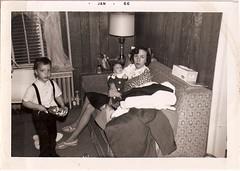 Mom Dean Me (changoblanco) Tags: family baby me vintage mom toy ukulele guitar snapshot dean 1966 sofa woodywoodpecker fabulousslippers